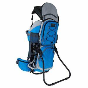 DROMADER Porte-bébé de randonnée Kangoo | Poids maximum de l'enfant de 22 kg | Confortable siège réglable | Système de support 3D Opti–fit | Avec protection solaire et parasol | bleu et gris