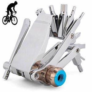 EastMetal 16-in-1 Outils Réparation Vélo de Montagne, Kit d'outils de Réparation de Vélo, Trousse D'outils de Vélo, Peut Etre Connecté à Une Bouteille d'Azote, pour l'équitation