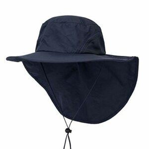 HunterBee Chapeau de baseball avec large bord pour le camping, le jardinage et le bateau – Bleu –