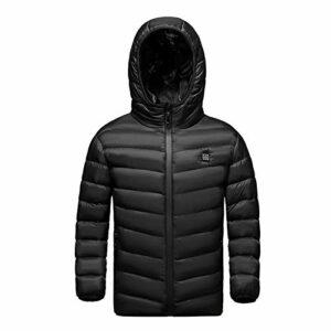 HWZZ Veste chauffante pour enfant rechargeable par USB pour camping et ski Noir 170 cm