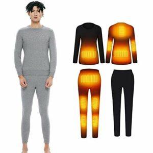 JXJ Ensemble de sous-vêtements Chauffants électriques d'hiver Manches Longues 10 Zones Chemises chauffantes Thermiques Pantalons de Camping pour Homme Femme, 2, XL