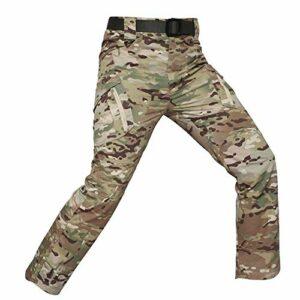 Khcr-CL Pantalons imperméables Hommes Tactique Respirant Coquille Souple Résistant au Vent Alpinisme en Plein air Automne Hiver Chaud Militaire Camouflage Randonnée Camping,G,XL