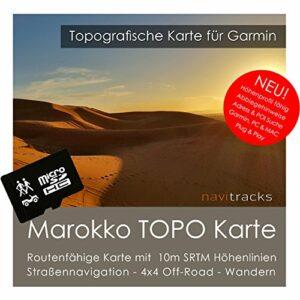 Le Maroc Garmin Carte Topo 4GB MicroSD. Carte Topographique GPS Carte de loisirs pour les randonnées Vélo Randonnée Trekking Geocaching & Outdoor. GPS, PC et Mac