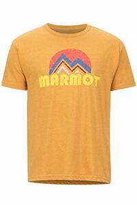 Marmot Pt Reyes Tee Short Sleeve T-Shirt Manche Courte, Chemise de randonnée, idéal pour Le Sport, la Gym, séchage Rapide, Respirant Homme, Aztec Gold Heather, FR : S (Taille Fabricant : S)