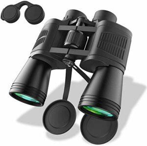 NOSSON Jumelles 10X50 Petit Télescope Compact HD Binoculaire Étanche avec Vision Nocturne Faible pour Enfants Adultes Observation des Oiseaux Chasse Randonnée Safari Visite avec Sac Et