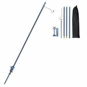TOBWOLF Poteau de lampe de camping pliable portable avec cheville, support de lanterne pliable en aluminium léger pour l'extérieur, pour pique-nique, randonnée, pêche, barbecue de jardin