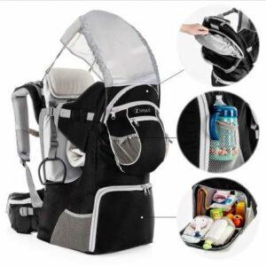 ZStyle Porte-bébé de randonnée, ergonomique et rembourré, protection solaire, ceinture, sac à dos porte-bébé pour montagne et ville Noir