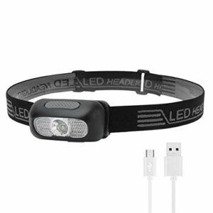 AMJFB Lampe Frontale à LED, Lampe Frontale légère, Phare étanche Super Lumineux Rechargeable USB pour Le Camping, Le Cyclisme, l'escalade, la randonnée, la pêche, la Lecture de Nuit, la Course à Pied