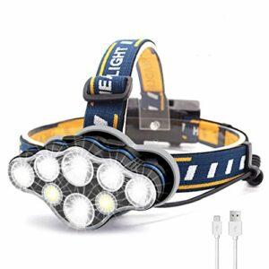AMJFB Lampe Frontale, Lampe Frontale 8 LED 18000 lumens, Phare étanche Super Lumineux Rechargeable USB pour Le Camping, Le Cyclisme, l'escalade, la Course à Pied (sans Batterie Incluse)