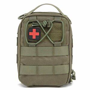 Azarxis Sac Tactique Petite Sacoche Médical Trousse Militaire Étui Molle pour Jeu de Guerre CS Randonnée Escalade (Vert armé)