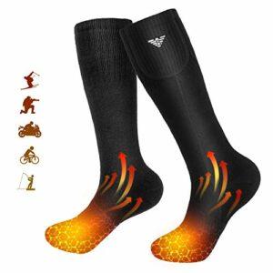 Begleri Chaussettes chauffantes pour Homme et Femme, Chaussettes chauffantes électriques à Piles pour Camping, pêche, Cyclisme, Moto, Ski (Noir L)