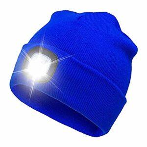 Bonnet De Course éClairé, Bonnet en Tricot Chaud d'hiver à LED, Bonnet en Tricot Chaud Unisexe avec Lumière, Applicable Camping Marche Pêche Randonnée Vélo Taille Moyenne/Bleu