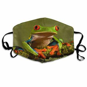 Cagoule anti-crépuscule Lucky-Fairy – Adorable grenouille verte – Décoration du visage – Respirant – Réutilisable – Imprimé – Pour l'escalade en plein air