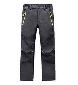 CAMLAKEE Pantalon Randonnée Hiver Garçon Fille – Pantalon Trekking Doublé Polaire Enfant – Pantalon Softshell Imperméable Outdoor Gris Foncé S