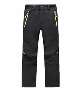 CAMLAKEE Pantalon Randonnée Hiver Garçon Fille – Pantalon Trekking Doublé Polaire Enfant – Pantalon Softshell Imperméable Outdoor Noir L