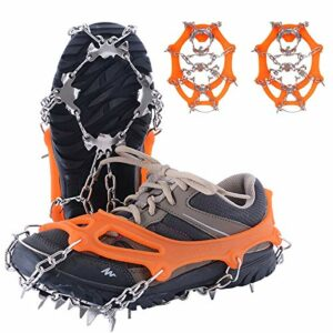 Crampons avec crampons en acier inoxydable – Chaîne à neige avec 19 dents – Crampons antidérapants pour chaussures de montagne, escalade – Orange – M
