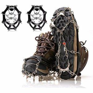 Crampons de glace, crampons pour escalade, alpinisme, trekking, chaussures avec 19 dents en acier inoxydable, chaîne à neige pour l'hiver et l'extérieur (L)