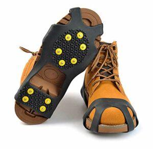 Crampons pour Chaussures Antidérapant avec 10 Clous à Neige Grips, Protection Antiglisse-Unisexe,Crampons Crampons Pointes Traction pour Randonnée Pêche Escalade Marche Sports de Plein Air (A-Medium)