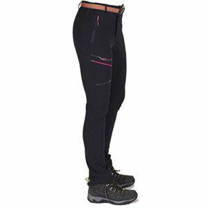 Ddl Pantalons de randonnée Stretch en Plein air Femmes Pantalons imperméables à l'eau à séchage Rapide Respirant randonnée Camping Treillis Casual Pantalon léger,Noir,XXL