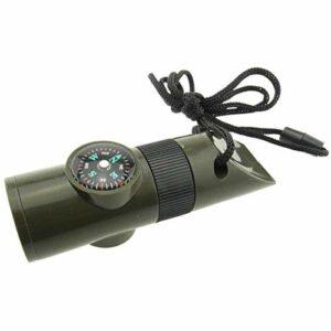 DDMYF 7in1 sifflet de Survie d'urgence Boussole Outil Multifonction loupe Lampe de Poche conteneur de Stockage thermomètre pour Camping randonnée