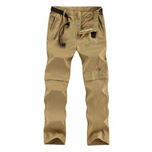 DFGRFN Pantalon de randonnée à Sec en Plein air Hommes Été Amovible Sports Shorts Camping Trekking Overtrousers imperméables à la pêche Pantalon d'escalade (Color : Khaki, Taille : XX-Large)
