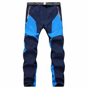 DFGRFN Pantalon de randonnée en Plein air pour Hommes, Poisson d'hiver Chaleureux Softshell en Polaire, Pantalon de randonnée étanche pour Pantalons d'escalade (Color : Bleu, Taille : Large)