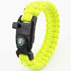 DLSM Camping en Plein air Parapluie Corde Bracelet Boussole thermomètre étincelant sifflet Multi-Fonction Bracelet de Sauvetage-2 pièces-Fruit Vert