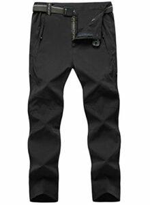 donhobo Pantalon d'extérieur pour homme – Léger – Séchage rapide – Imperméable – Stretch – Pantalon de trekking – Pantalon fonctionnel – Pour les loisirs, l'escalade – Avec ceinture – Noir – XXL