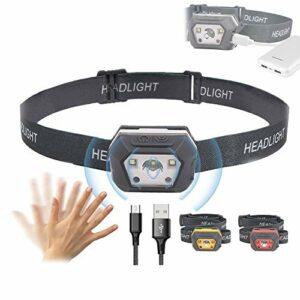 DSMGLRBGZ Lampe Frontale, LED USB Capteur De Mouvement pour Extérieur Fais Un Tour Camping Escalade en Montagne Le Jogging Faire De La Pêche,A