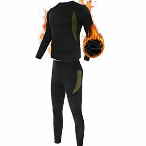 ESDY Ensemble de sous-Vêtements Thermiques Homme, Sport Base Layer Maillot Manches Longues + Pantalon Quick Dry Sou Vetement pour L'entraînement Ski Running Randonnée,Noir,L