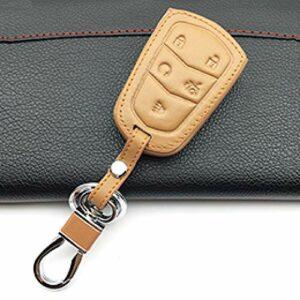 FFHJHJ Housse de Protection en Cuir pour clé pour Cadillac Escalade ESV XTS ATS CTS SRX 6BT 3 Boutons / 4 Boutons / 5 Boutons Smart Protect Shell, Marron, 5J
