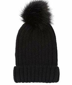FRYH Bonnet De Laine d'hiver Chaud Bonnet De Camping en Plein Air,Black