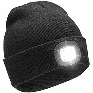 FYYTRL Chapeau de Bonnet à LED, Chapeau à tête Rechargeable USB avec la lumière, Laine de Laine Chaude Unisexe tricotée en Tricot oriforifique, pour Le vélo, la pêche, Le Camping, la Chasse
