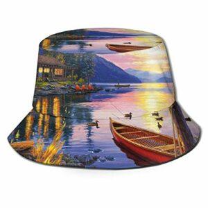 GAHAHA Chapeau seau pour homme et femme Scène du lac Pêcheur Randonnée Respirant Protection UV Soleil Garçon Pliable Automne Extérieur Pêche