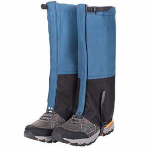 Guêtres de la jambe de neige réglables, Guêtres de démarrage imperméables pour la randonnée, Ultra Durable 620D Oxford Boot Snow Boot Gaiters pour Camping, Escalade, Marche, Chasse, Raquette,Bleu,L
