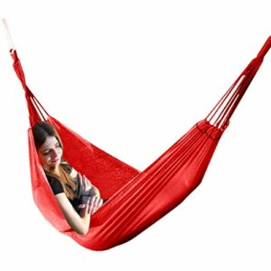Hamac de camping respirant en nylon ultra léger 190 x 130 cm 250 kg, rouge