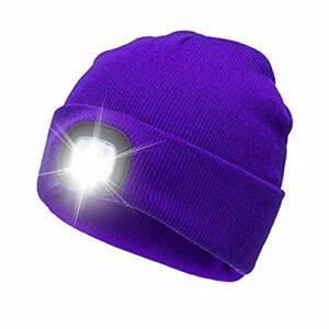 HNQH Bonnet dhiver avec Light-USB Rechargeable Light Up Cap Bonnet en Tricot Bonnet de Phare Unisexe Mains Libres Lampe de vélo Bonnet pour vélo Camping Jogging Activités de Plein air
