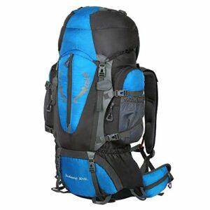 JTKDL Sac à Dos De Randonnée 85L (80 + 5) en Nylon avec De Protection Imperméable Ultraléger pour Alpinisme Escalade Trekking Sport Voyage Camping,Blue