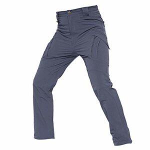 Khcr-CL Pantalon imperméable Hommes à séchage Rapide Tactique Respirant Coquille Souple Résistant au Vent Moto Coupe-Vent Extérieur Automne Hiver Chaud Randonnée Camping,Gris,L