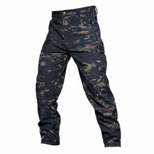 Khcr-CL Pantalons imperméables Hommes Respirant Coquille Souple Résistant au Vent Extérieur Moto Bicyclette Automne Hiver Armée Fan Tactique Chaud Camouflage Randonnée Camping,O,S