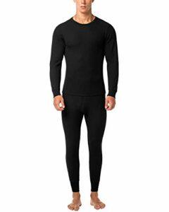 LAPASA Ensemble de sous-vêtements Thermiques Homme Tissu Gaufré Waffle – Ultra Chaud ET LÉGER – Haut Maillot de Corps & Pantalon Bas Hiver Ski Montagne M60 (Noir, M)