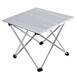 Ljings Tables D'appoint De Camping Portables avec Plateau en Aluminium, pour Les Activités en Extérieur, Le Camping Et Les Barbecues, Faciles À Nettoyer,Blanc