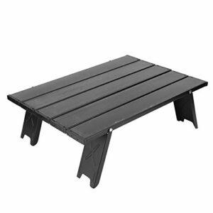 Mini Table Pliante Portable en Alliage d'aluminium ultraléger Camping en Plein air BBQ Pique-Nique Table de Plage Noir randonnée Sac à Dos Compact Rouleau Haut Pliable