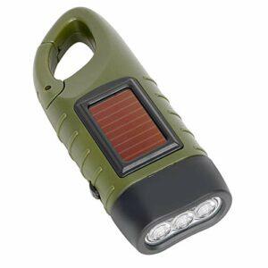 NA Lampe de Poche LED Portable à manivelle Dynamo et Lampe de Poche Solaire, avec Clip à Pression Rapide pour Le Camping en Plein air, Escalade, randonnée, Lampe de Poche de Survie