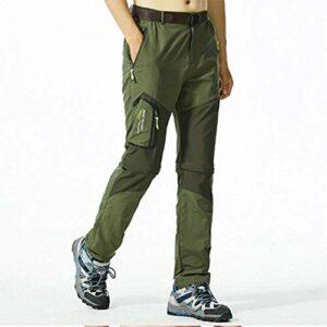 Pantalon à séchage rapide pantalons de randonnée en plein air des hommes deux pantalons Pantalons séchage rapide Convient pour Pantalon léger simple de Golf Marche Chasse Randonnée,Militarycolor,XXL
