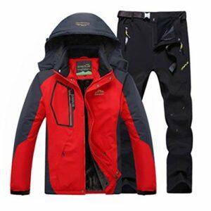 Pantalon en Molleton Chaud d'hiver pour Hommes Pantalon de Camping de randonnée Manteaux de Veste imperméable de Sport de Plein air Red Black XL