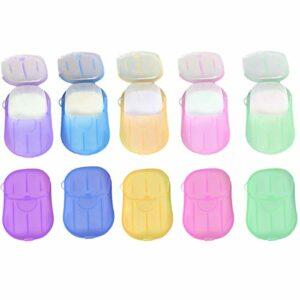 Paquet de de Tranche de Savon en Papier jetables portatives,Toilettes/Le Bain/Le Voyage/Le Camping/la randonnée,200 pcs Mini-Tranche parfumée, 10 Pack