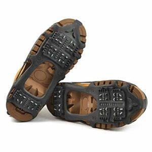 Poignées à neige glacée, pinces à glace d'hiver antidérapantes Crampons à neige Crampons de traction avec 24 bottes à crampons en acier Couvre-chaussures pour la randonnée Pêche Escalade (Noir,M)