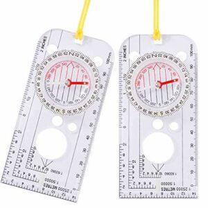 Popuppe 2 Pièces Boussoles Navigation de randonnée Multifonction Explorer Compass Portable pour Rando Camping Ski Sport de Plein air Navigation sur Carte Alpinisme Explorateurs