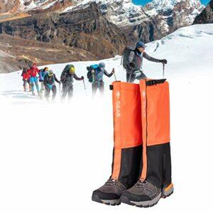 QIDIAN Gaiteurs de la Jambe extérieure, imperméabilisée et Respirant Ski Ski Boot Gaiters, Garde de la Jambe de Jambe enveloppements de la Jambe pour la randonnée à la Chasse à l'escalade,Orange,L
